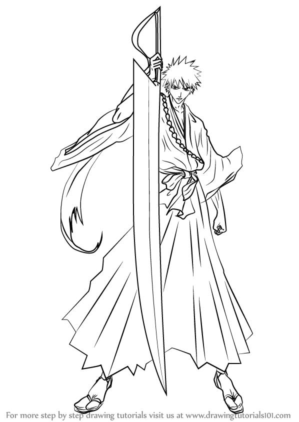598x844 Learn How To Draw Ichigo Kurosaki From Bleach (Bleach) Step By