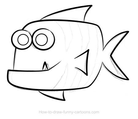 450x388 Fish Drawing (Sketching + Vector)