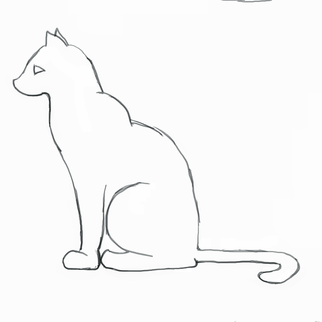 1103x1103 Simple Line Drawing Of A Cat Cat Outline