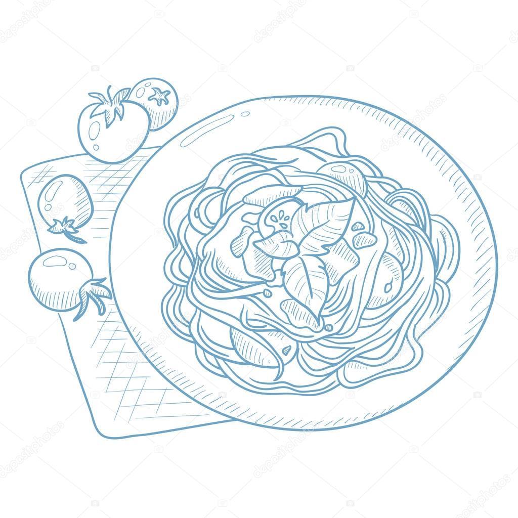 1024x1024 Spaghetti With Basil On Plate. Stock Vector Rastudio