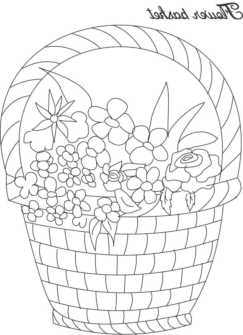 815x1125 Flower Baket Sketch Picture Flower Basket Coloring Page