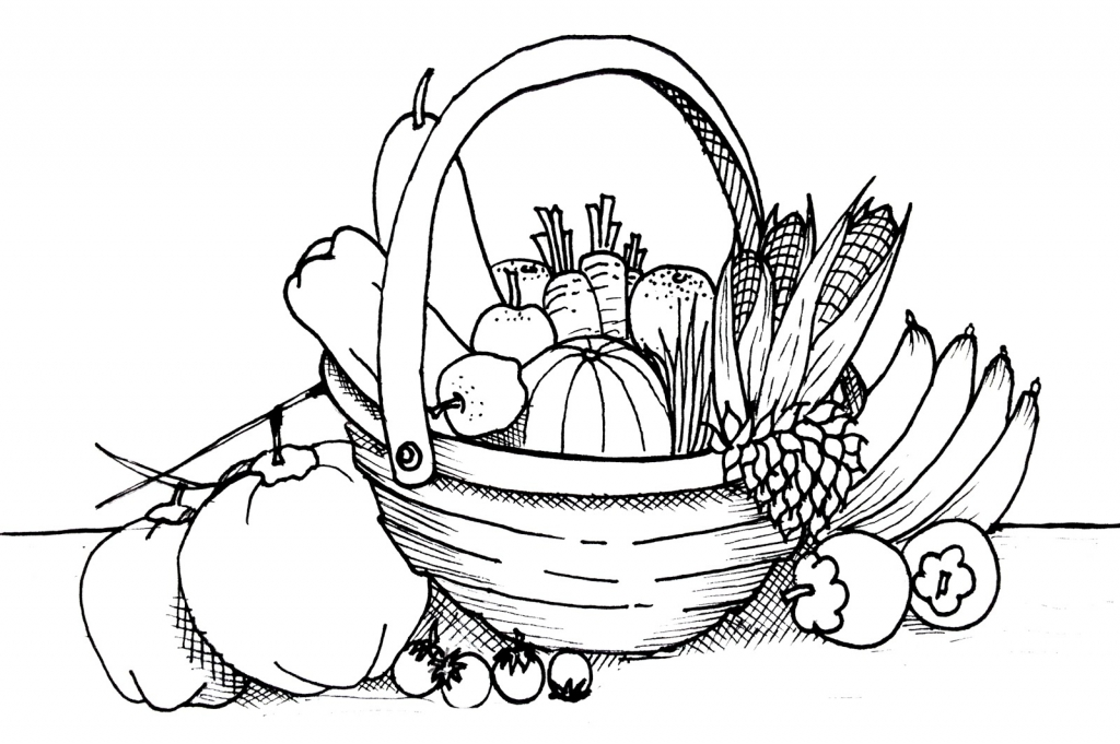 1024x681 A Basket Of Fruits Drawing Coloring Fruit Basket Coloring Pages