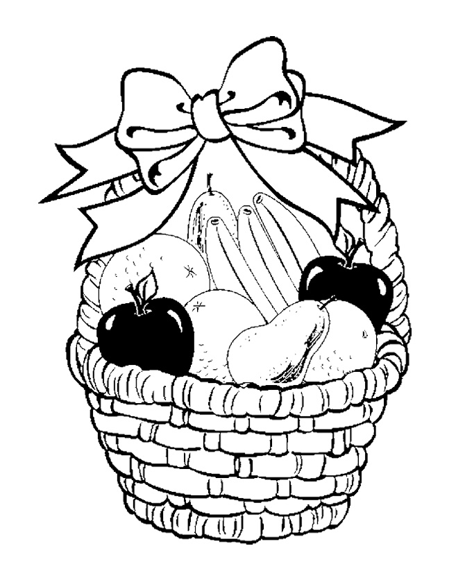 670x836 Fruit Basket In Your Decorate With Ribbon Coloring Page For Kids