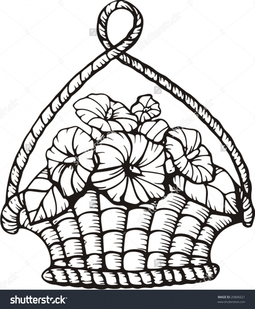 846x1024 How To Draw Flower Basket Simple Flower Basket Drawing How To Draw