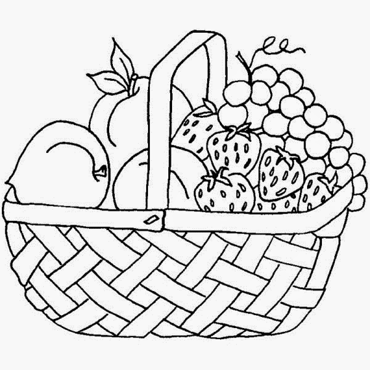 1200x1200 A Basket Of Fruits Drawing Coloring Fruit Basket Drawing