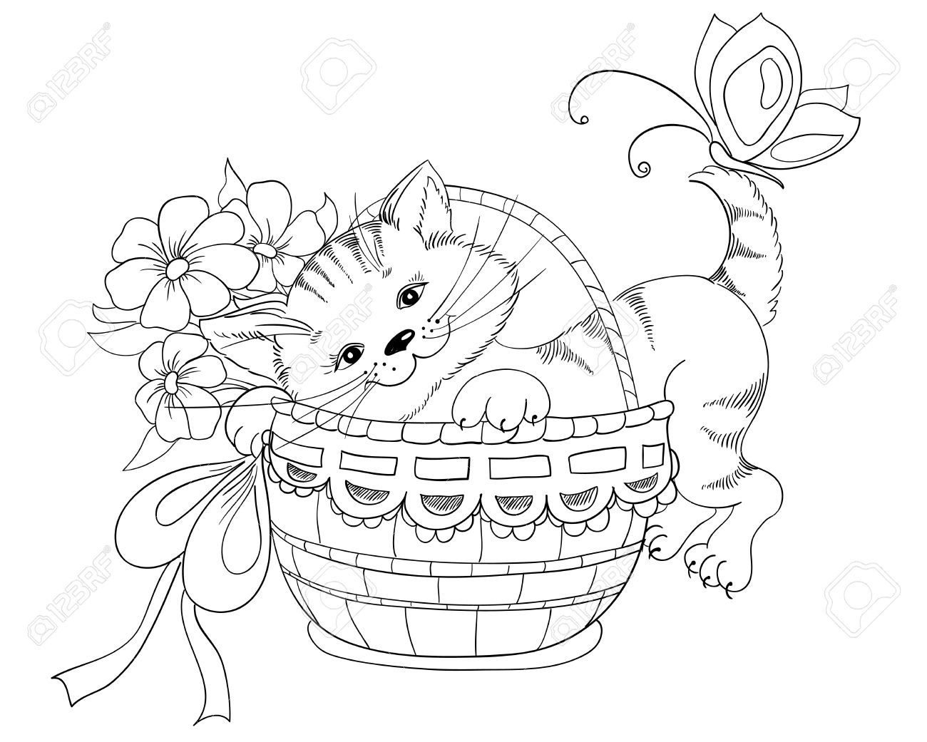 1300x1041 Vector Hand Drawing Kitty And Bouquet Of Flowers In Basket Royalty