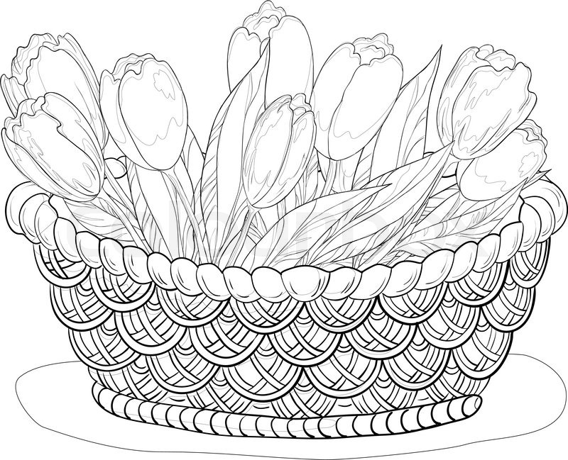 800x649 Basket With Flowers, Contours Stock Vector Colourbox
