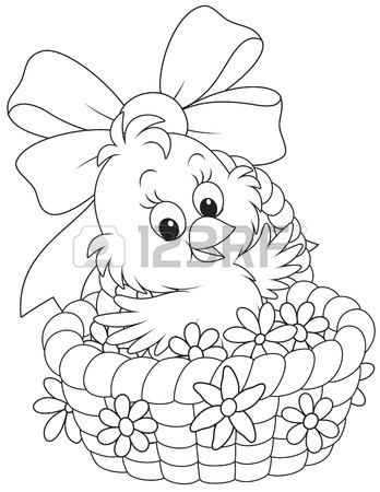 348x450 Easter Chick In A Basket With Flowers Royalty Free Cliparts