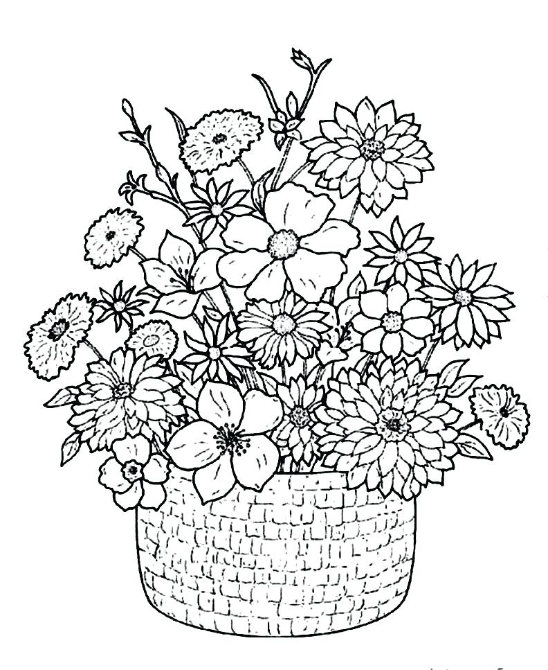 792x967 Flower Basket Coloring Pages 19 In Addition To Flower Basket