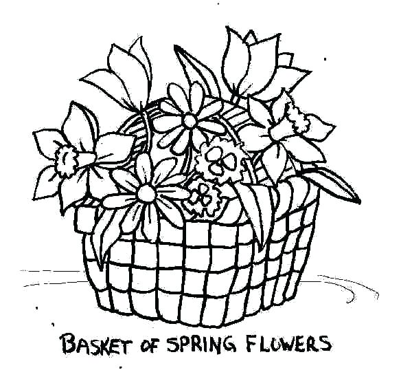 600x538 Flower Basket Coloring Pages And Filling Basket Of Flowers