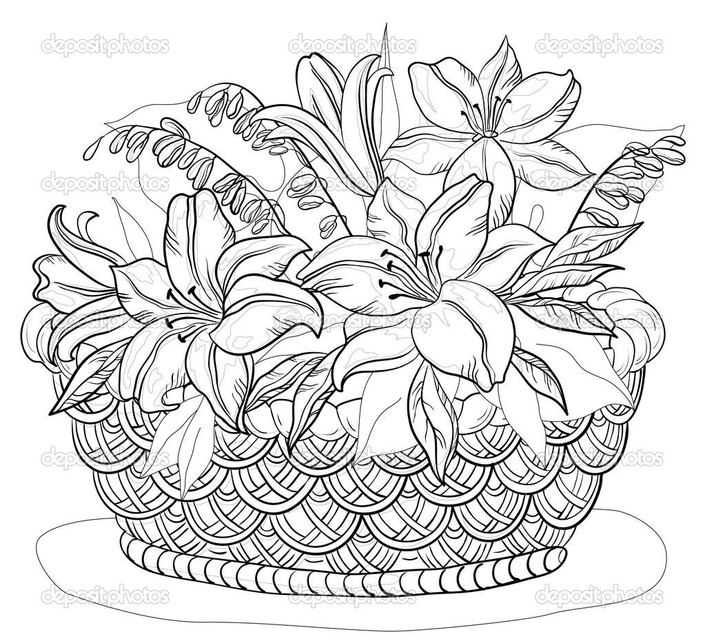 1023x930 Flower Basket Drawing Floweryweb Dibujos Varios