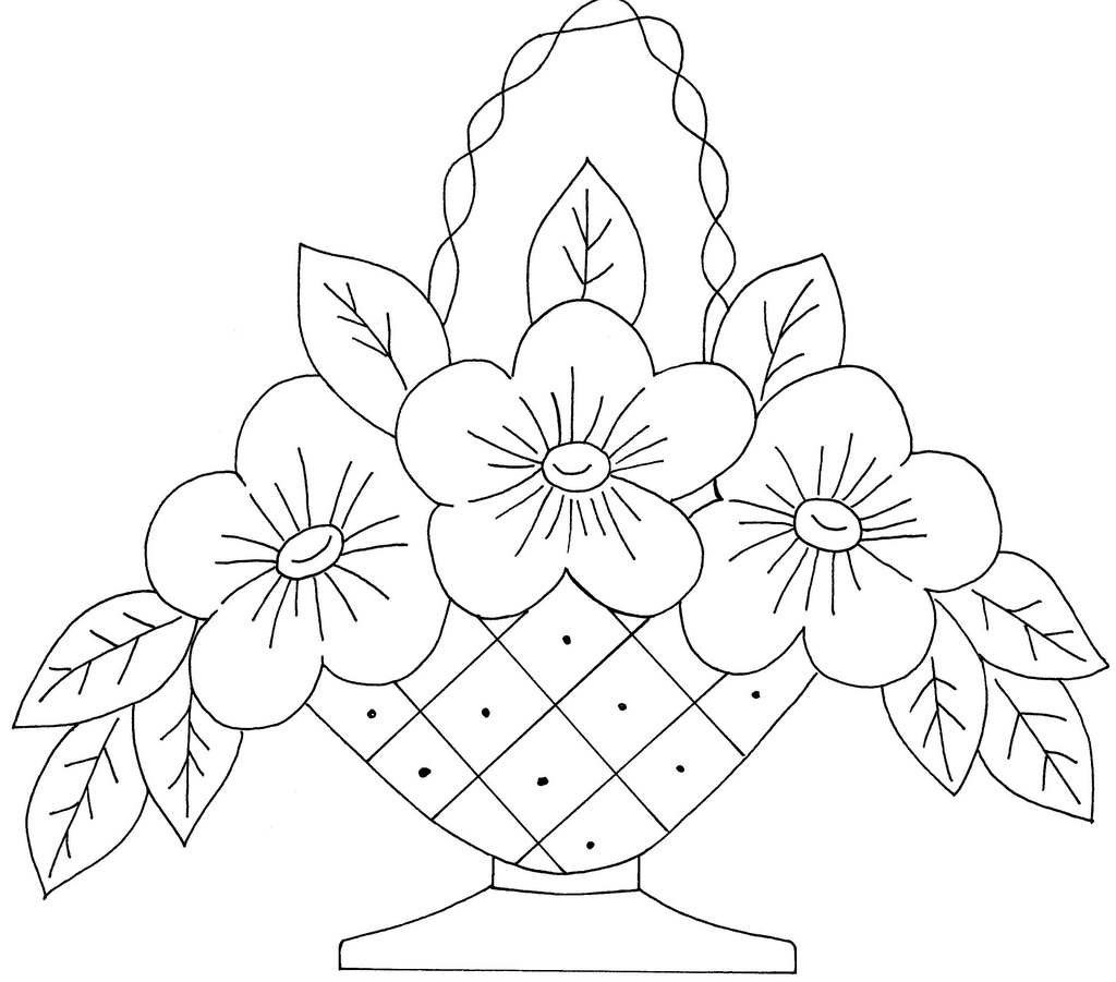 1024x901 Flower Basket For Drawing Basket Of Flower Drawings Easy Drawing