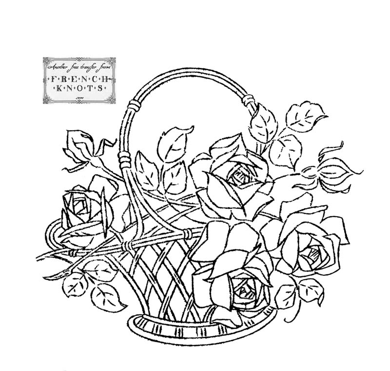 800x760 Flower Basket Hand Embroidery Patterns