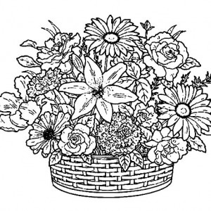 300x300 How To Draw Basket Of Flowers Coloring Pages How To Draw Basket