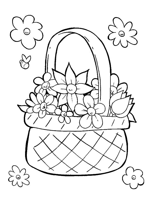 600x832 Perfect Basket Of Flowers Coloring Pages Best Place To Color