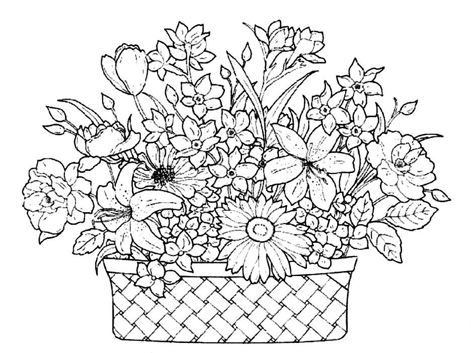 936x702 Basket Coloring Pages Home Beautiful Flowers Colori On Cats