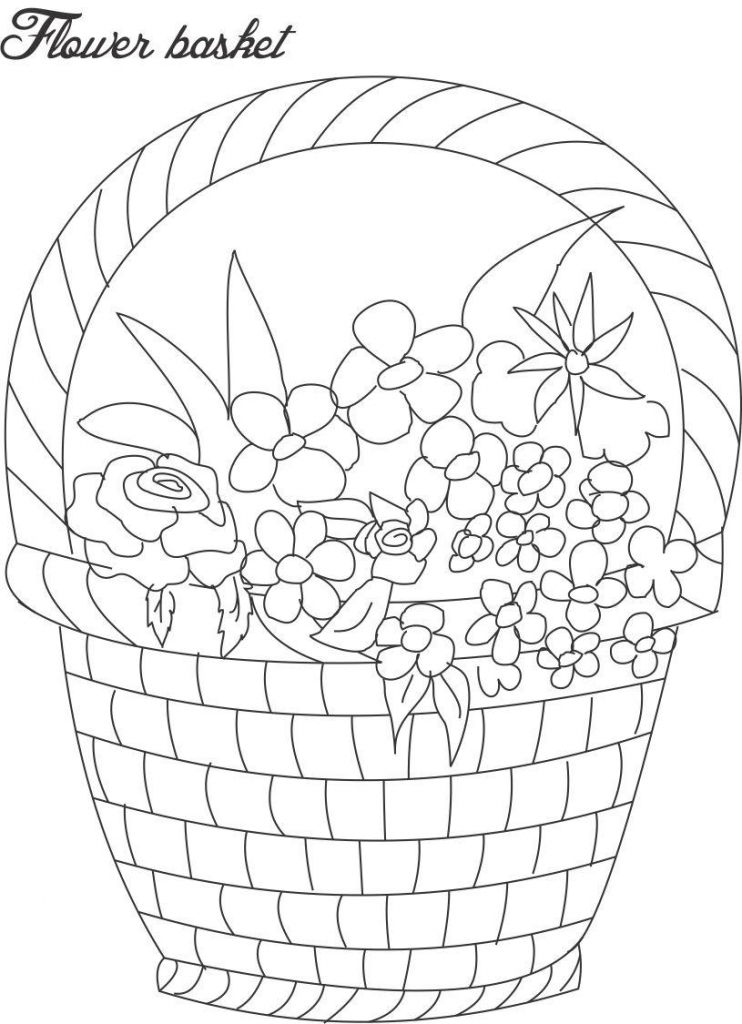 742x1024 Sketch Flowers And Basket Flower Bouquet Drawing