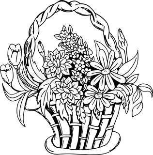 316x320 Vector, Contours, Wattled Basket With Flowers Lily And Leaves