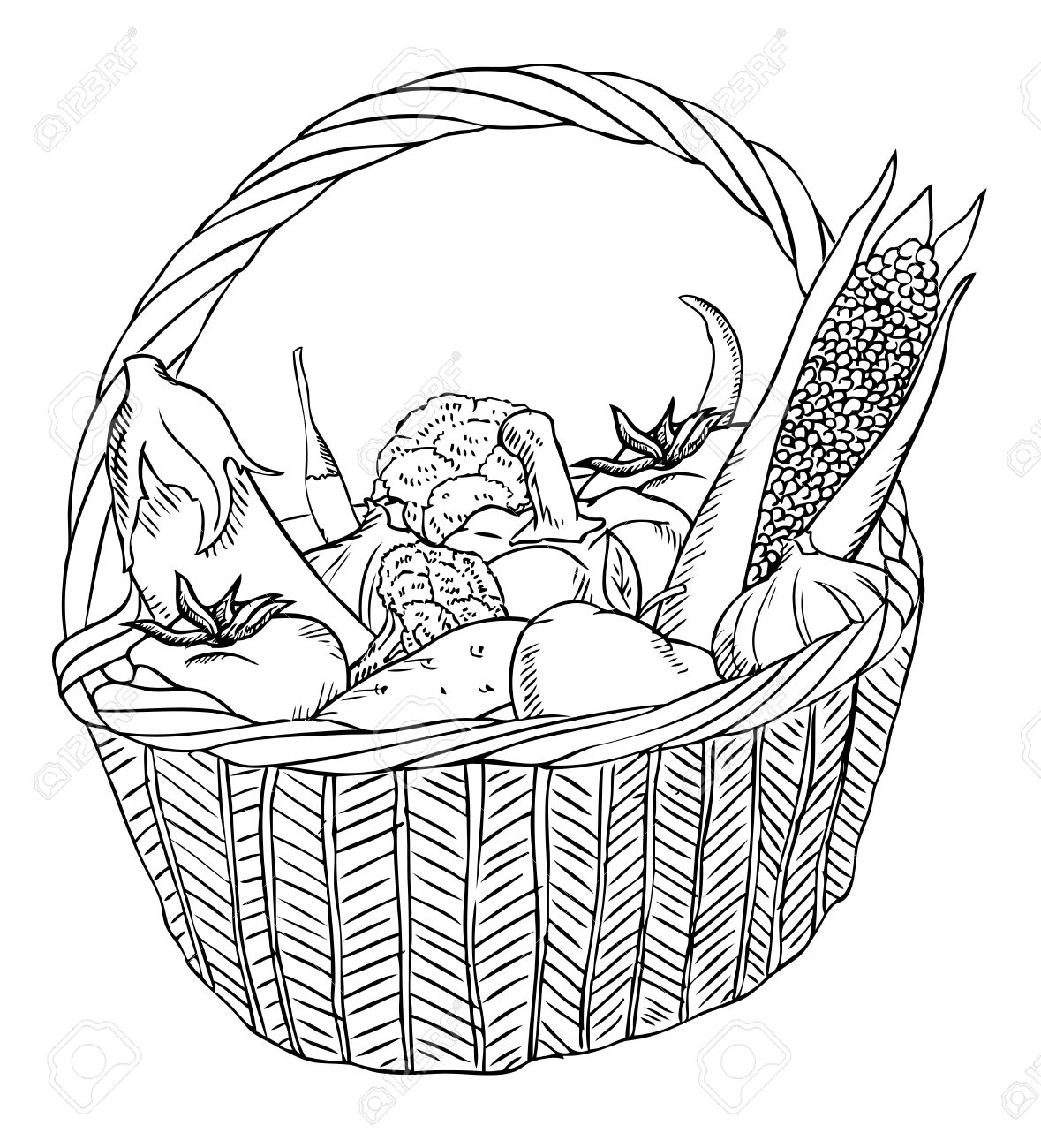 Basket Of Fruit Drawing