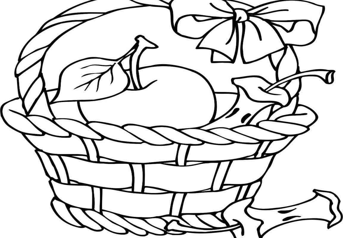 1152x800 How To Draw Apple Basket Coloring Pages Fruit Kids Page Free