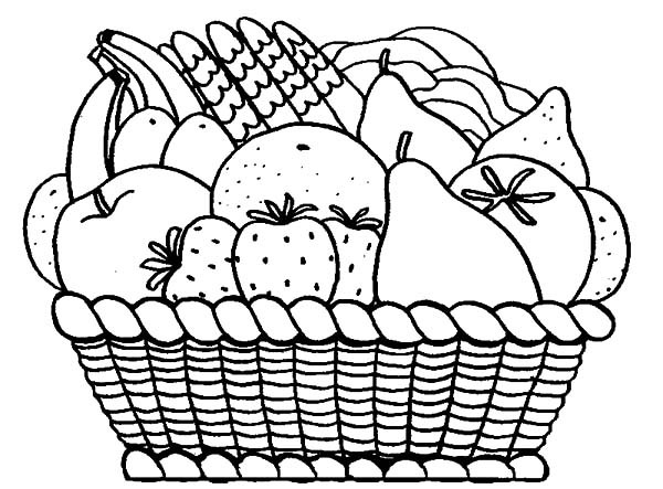 600x443 Basket Of Fruits Coloring Pages With Fruit