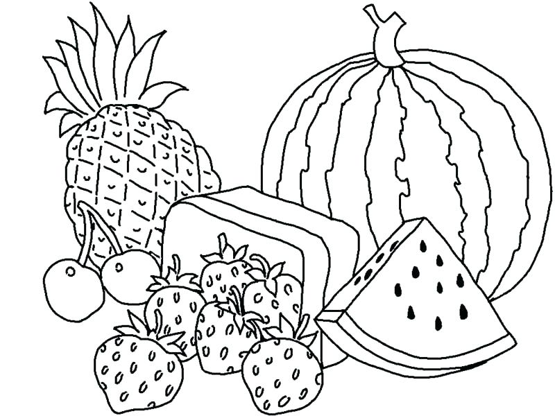 800x600 Coloring Picture Of Fruit Drawn Fruit Fruit Plate Coloring Pages