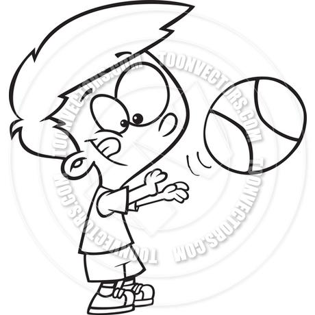 460x460 Cartoon Basketball Player Boy (Black Amp White Line Art) By Ron