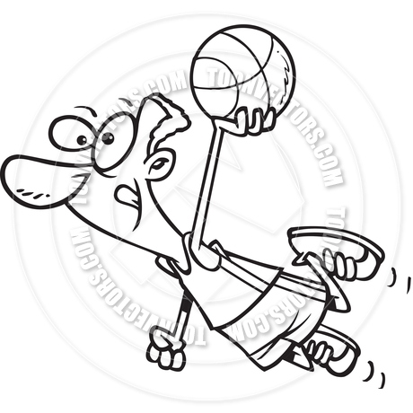 460x460 Cartoon Basketball Player Dunk (Black And White Line Art) By Ron