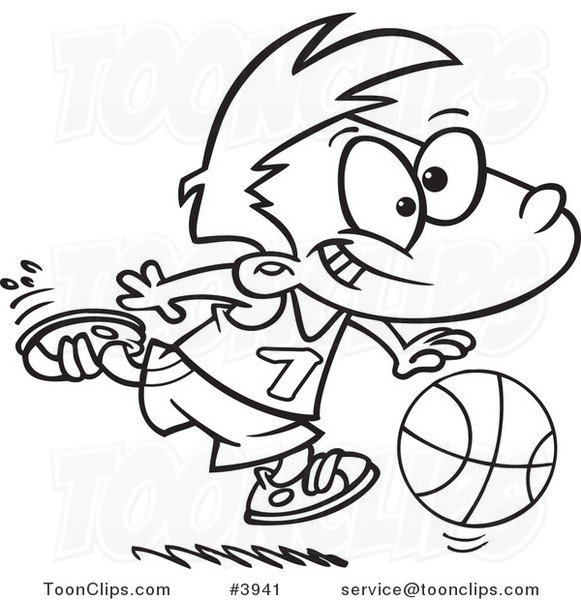 581x600 Cartoon Black And White Line Drawing Of A Basketball Boy Dribbling