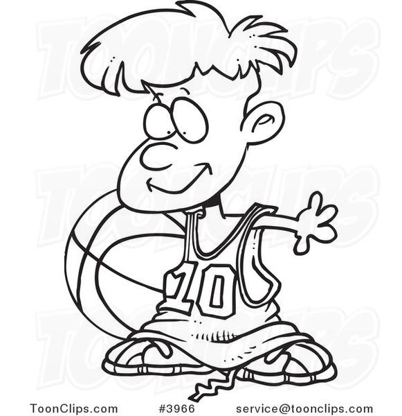 581x600 Cartoon Blacknd White Line Drawing Of Basketball Boy