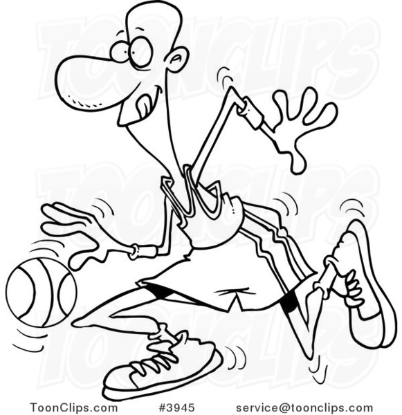 581x600 Cartoon Black And White Line Drawing Of A Black Basketball Player
