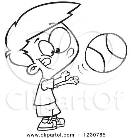 450x470 Clipart Of A Line Art Cartoon Boy Shooting A Basketball