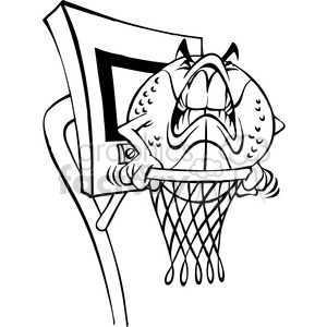 300x300 Royalty Free Cartoon Basketball Character Ball Bw 387796 Vector