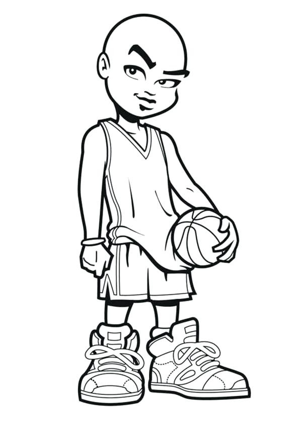 600x847 Surging Basketball Player Coloring Page Pages Slam Dunk