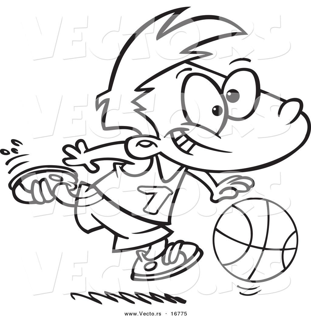 1024x1044 Vector Of A Cartoon Basketball Boy Dribbling