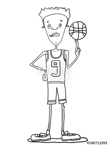 375x500 Male Basketball Player Illustration Cartoon Drawing And White