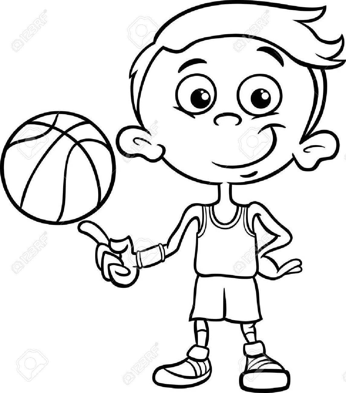1145x1300 Black And White Cartoon Illustration Of Funny Boy Basketball