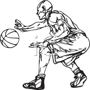 299x300 Black And White Cartoon Of An Athlete Dribbling A Basketball