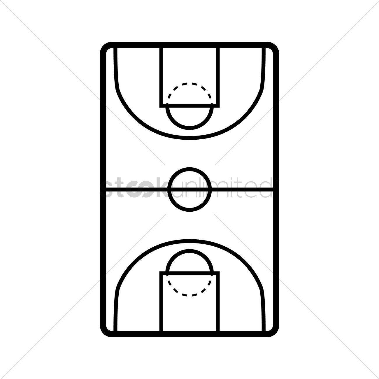1300x1300 Basketball Court Vector Image