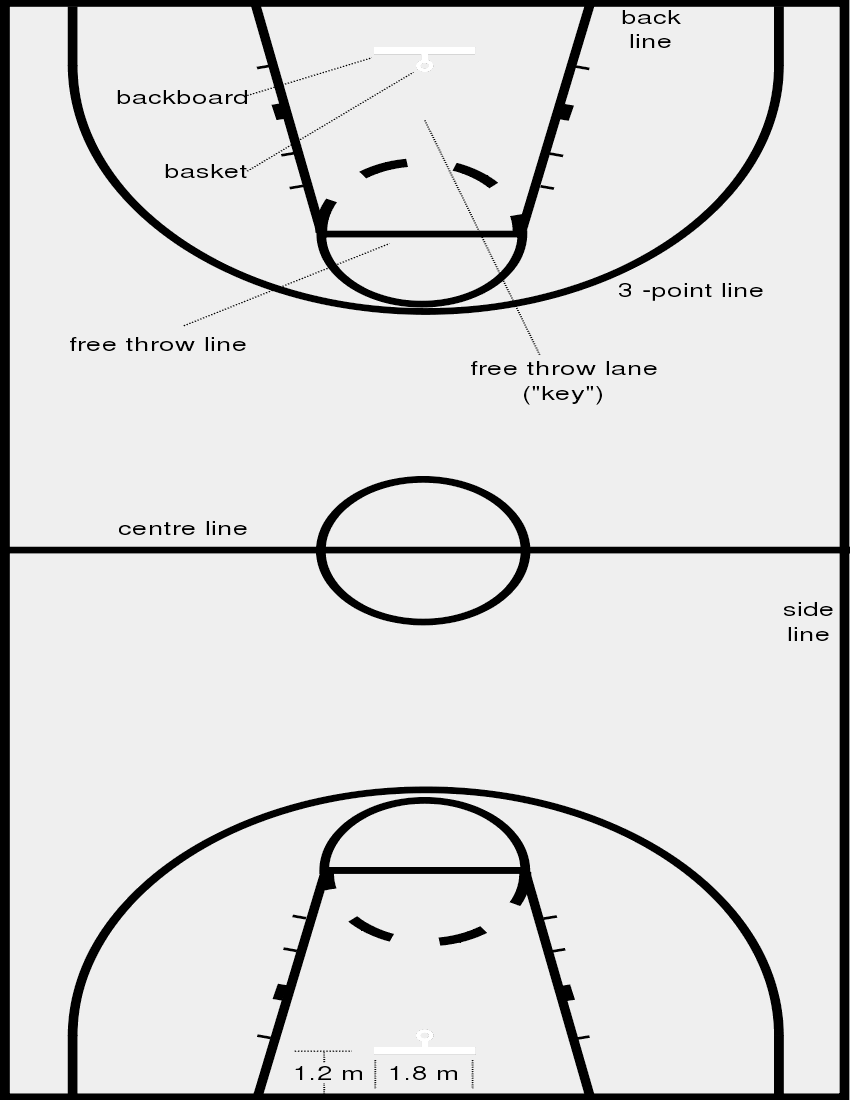 850x1100 Basketball Court Dimensions