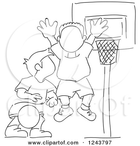 450x470 Clipart Sketched Basketball Coach Standing On A Court
