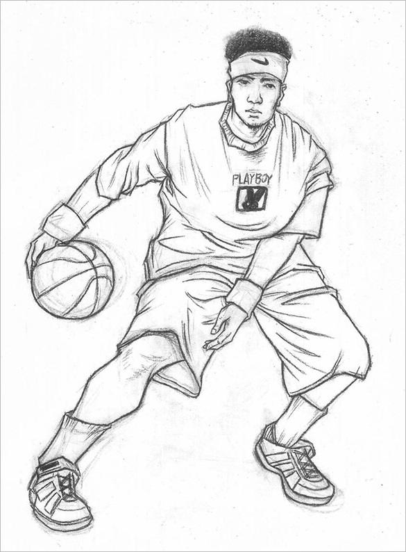 585x794 Fantastic Basketball Drawings To Download! Free Amp Premium