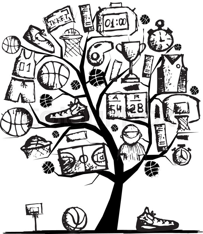 694x800 Basketball Tree Concept, Sketch For Your Design. Vector