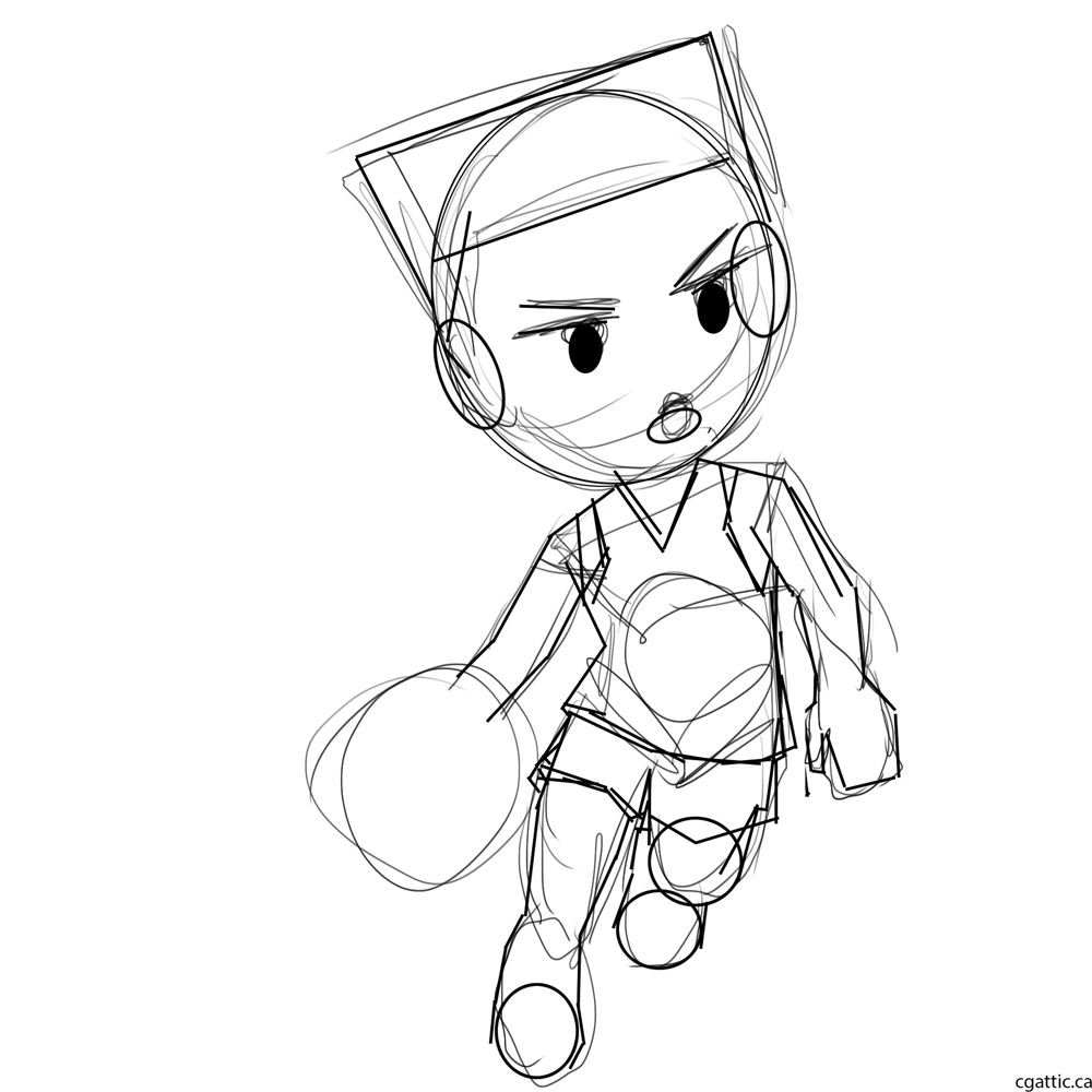 1000x1000 Cartoon Basketball Player Drawing In 4 Steps With Photoshop