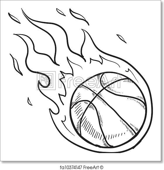 561x581 Free Art Print Of Flaming Basketball Sketch. Doodle Style Flaming