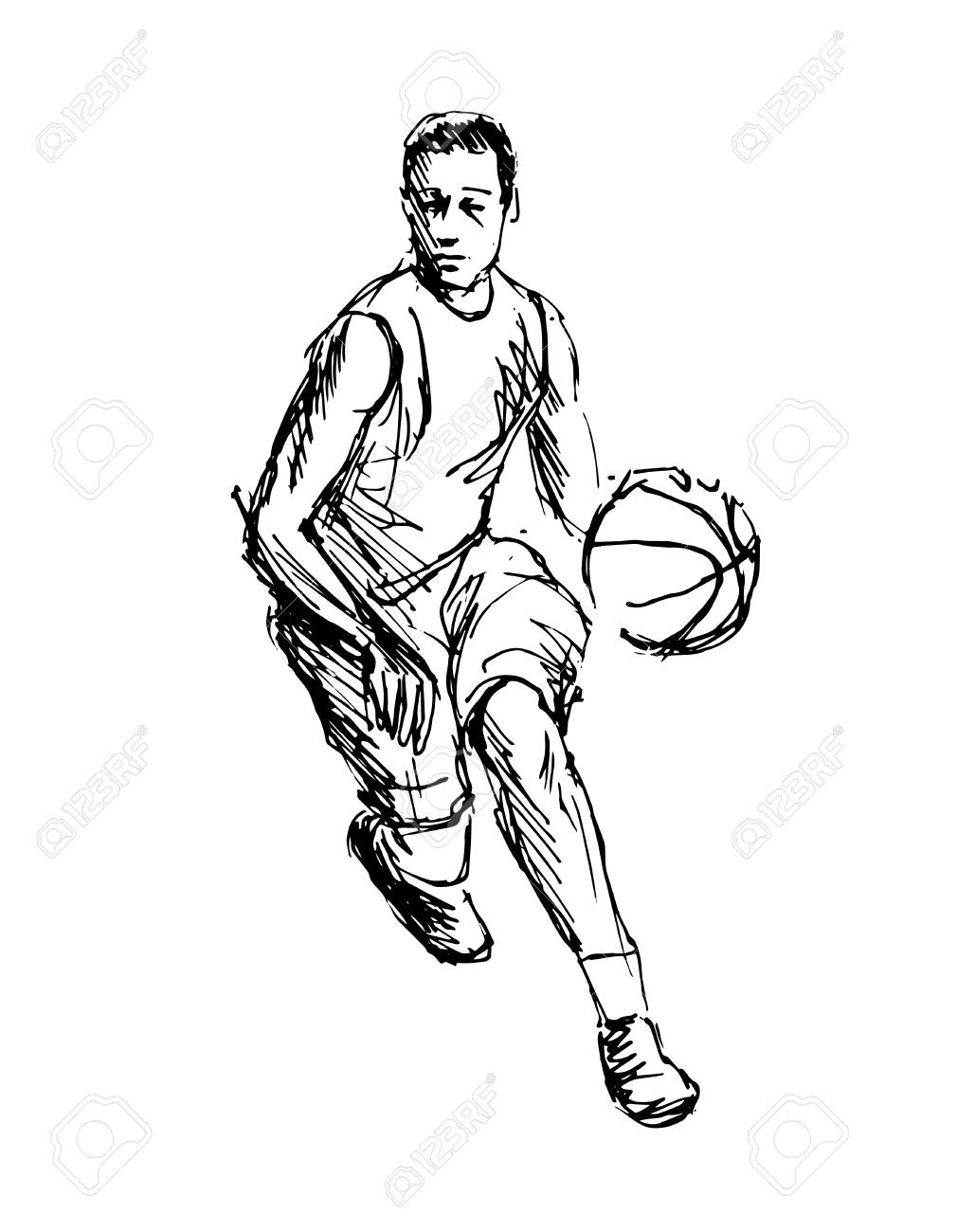 1029x1300 Hand Sketch Basketball Player Vector Illustration Royalty Free
