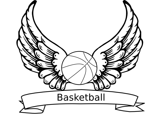 600x538 Basketball Angel Wings Clip Art
