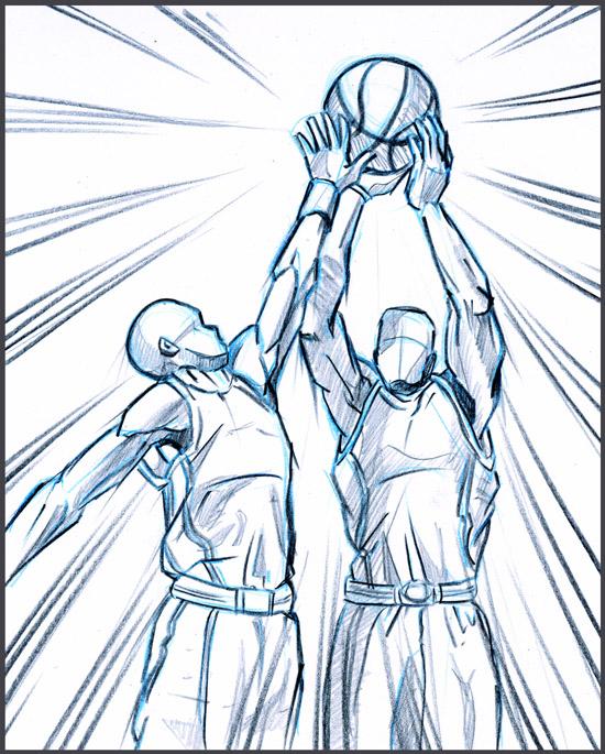 550x685 Life Drawing Basketball Players