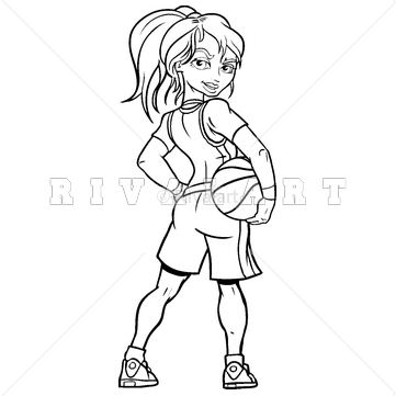 361x361 Sports Clipart Image Of Basketball Girl Holding Player Woman