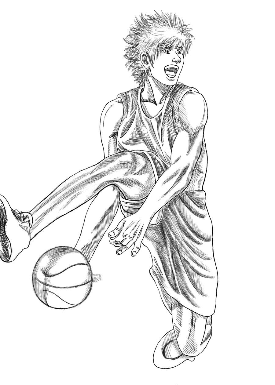 900x1261 Basketball Player Slam Dunk Silhouette Vector Illustration Stock